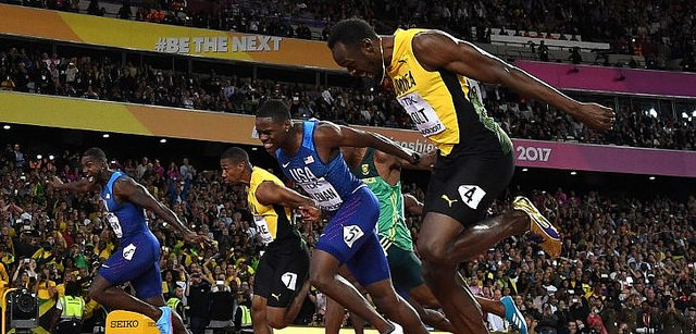 justin gatlin usain bolt mundial atletismo 100m final londres 2017 video
