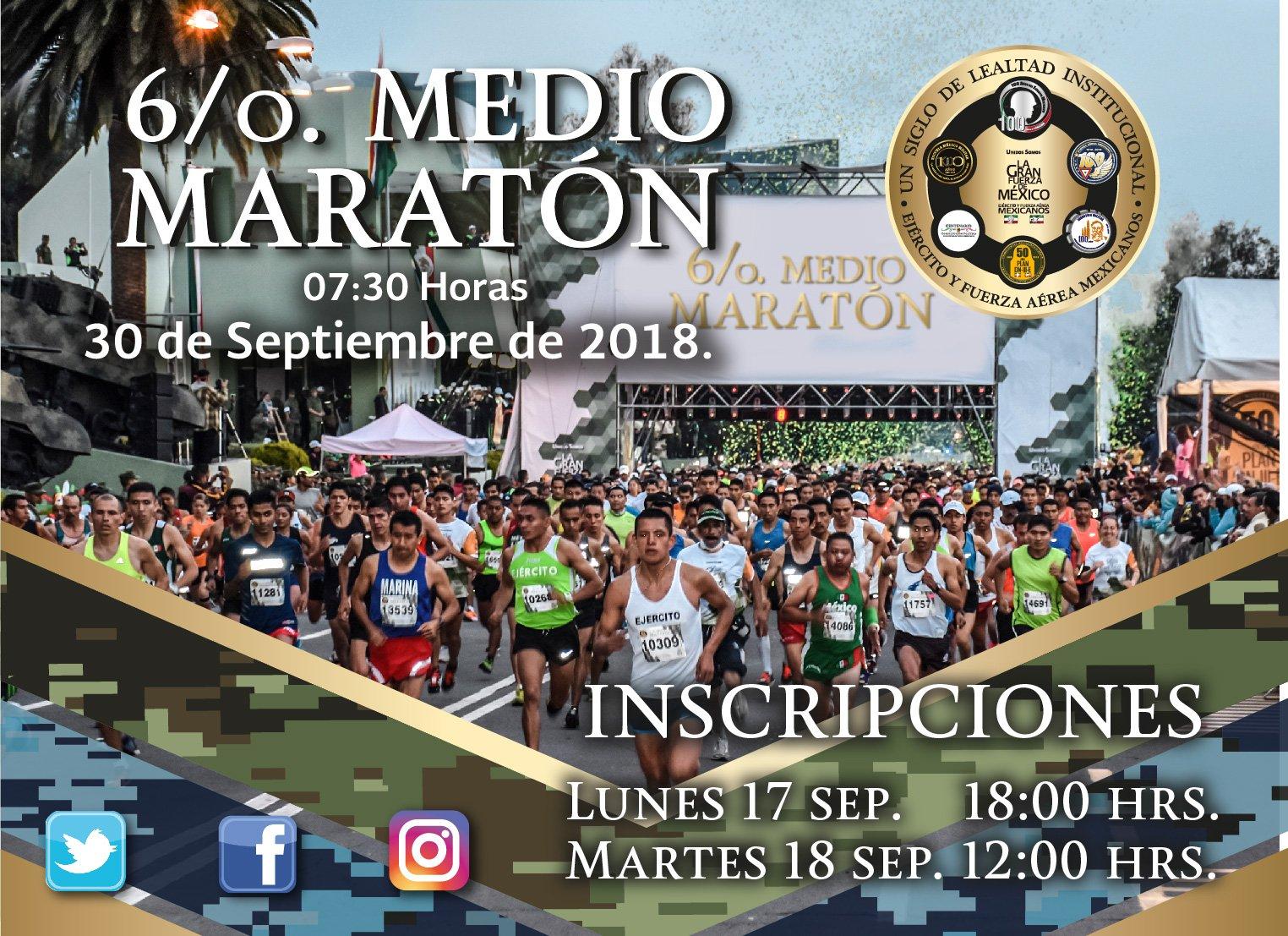 inscripciones medio maraton sedena 2018